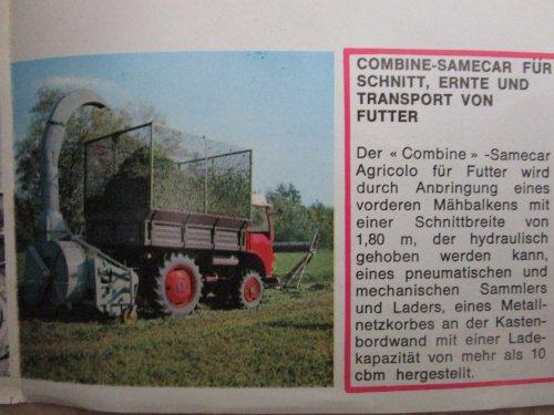 Afbeelding uit een folder over de Samecar. Deze 42 pk trekker/voertuig of werktuigendrager van Same, was het antwoord van Same, op het succes van de Unimog in de jaren 60...