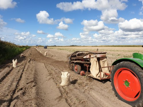 Foto van een Samro aardappelrooier achter een Deutz F2L612. Geplaatst door LG0enga op 01-09-2019 om 19:20:52, op TractorFan.nl - de nummer 1 tractor foto website.