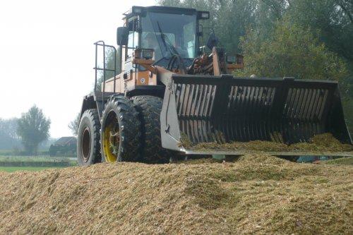Foto van een Samsung SL 120-2, bezig met maïs inkuilen.. Geplaatst door jim power op 12-09-2015 om 13:42:40, op TractorFan.nl - de nummer 1 tractor foto website.