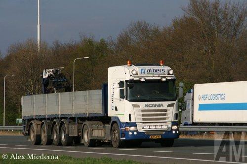 Foto van een Scania G420, opgebouwd voor steentransport.. Geplaatst door Alex Miedema op 14-04-2014 om 21:10:12, op TractorFan.nl - de nummer 1 tractor foto website.