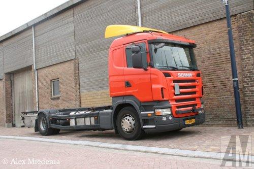 Foto van een Scania R420, opgebouwd voor containertransport.. Geplaatst door Alex Miedema op 27-06-2014 om 20:20:03, op TractorFan.nl - de nummer 1 tractor foto website.