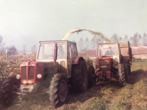 Foto van een Schlüter Super 850 V en carraro 7500 bezig met maïs oogsten in het waasland al een hele poos geleden. 🤩