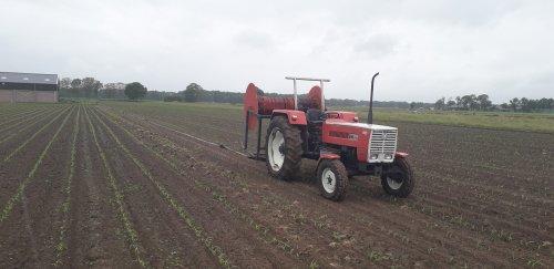 Foto van een Steyr 658. Bezig met mais beregenen. Zolang de mais nog niet te hoog is werkt het systeem met de kleine sproeietjes nog.