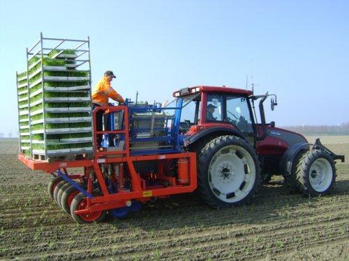 Foto van een Valtra T130, bezig met knolselderij planten.. Geplaatst door Loonbedrijf Knuit op 15-04-2011 om 15:59:05, met 3 reacties.