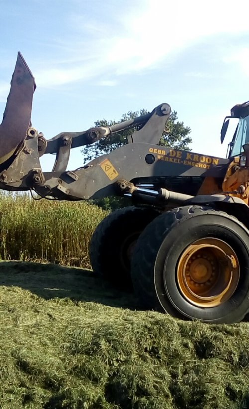 Volvo (L70E dacht ik) van gebr. De kroon de gras kuil aan het aanrijden.. Geplaatst door Bartdekroon op 02-09-2016 om 14:44:30, op TractorFan.nl - de nummer 1 tractor foto website.