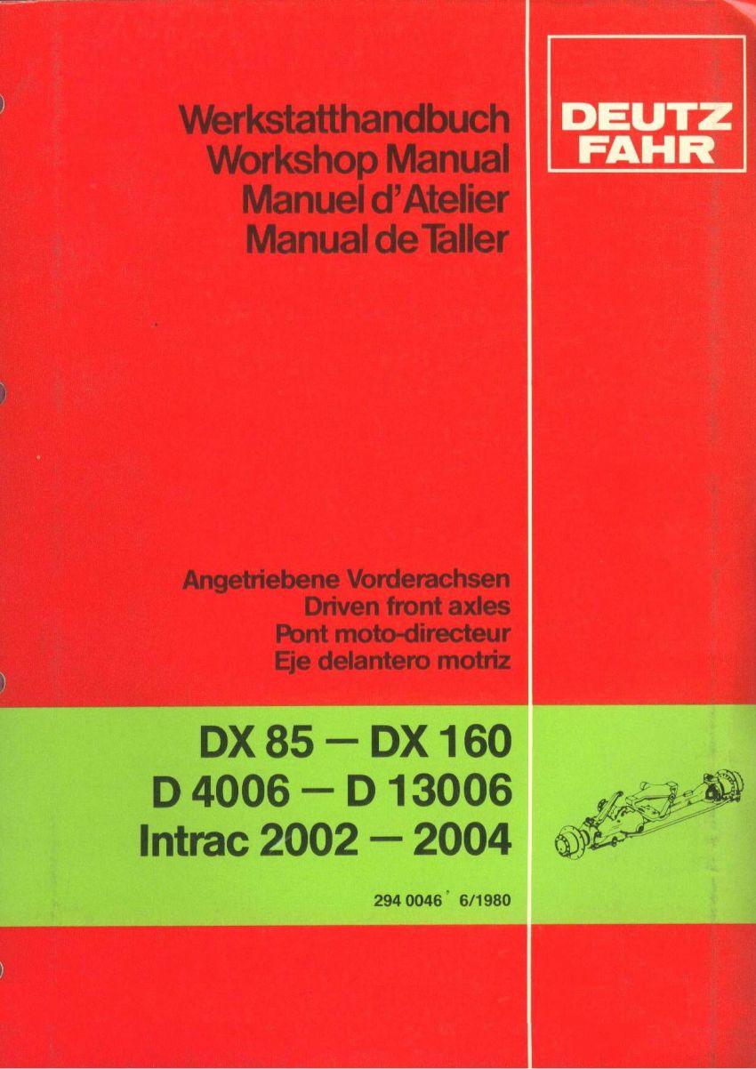Deutz DX, 06 & Intrac - Vooras werkplaatshandleiding