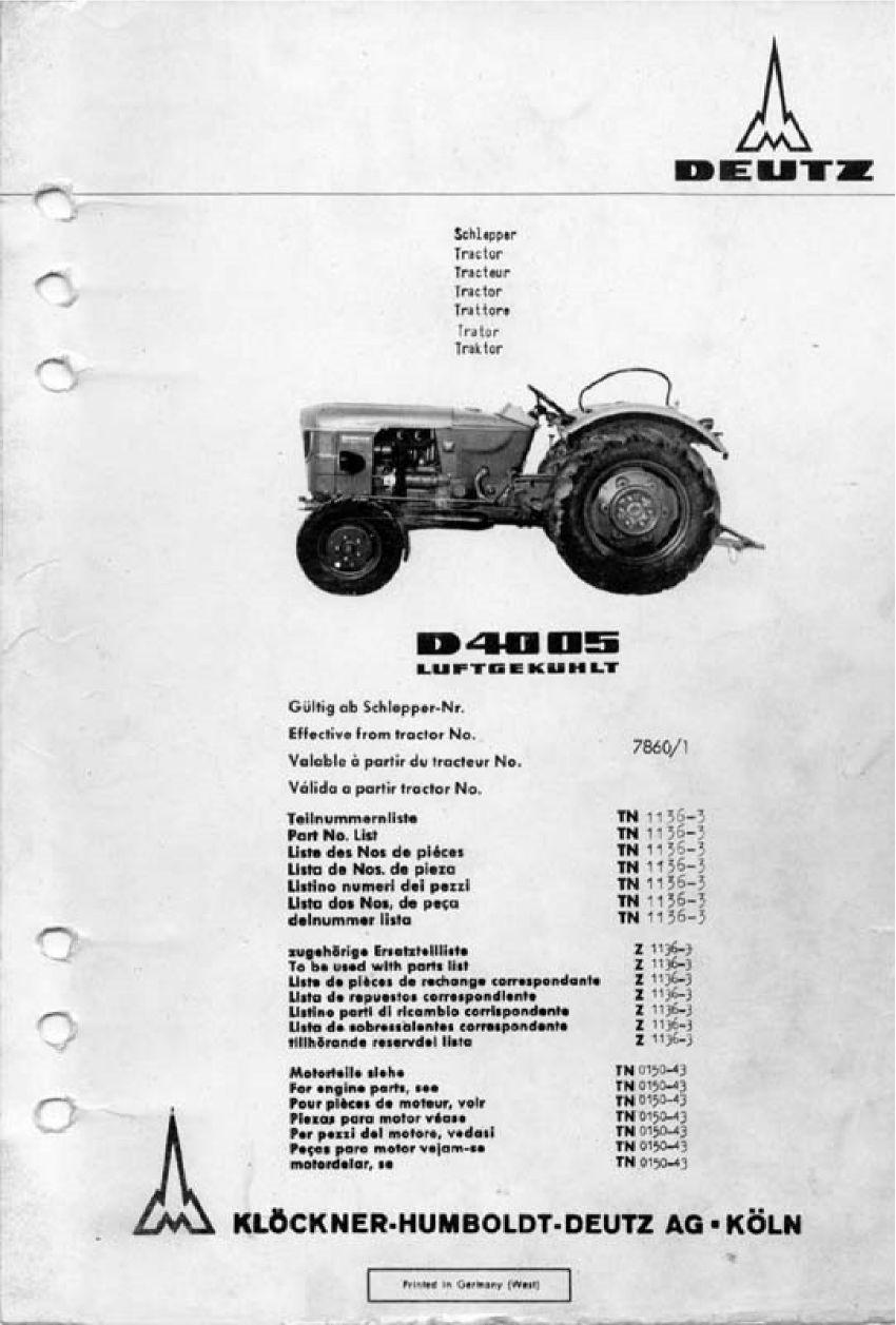 Deutz D4005 - Onderdelenlijst