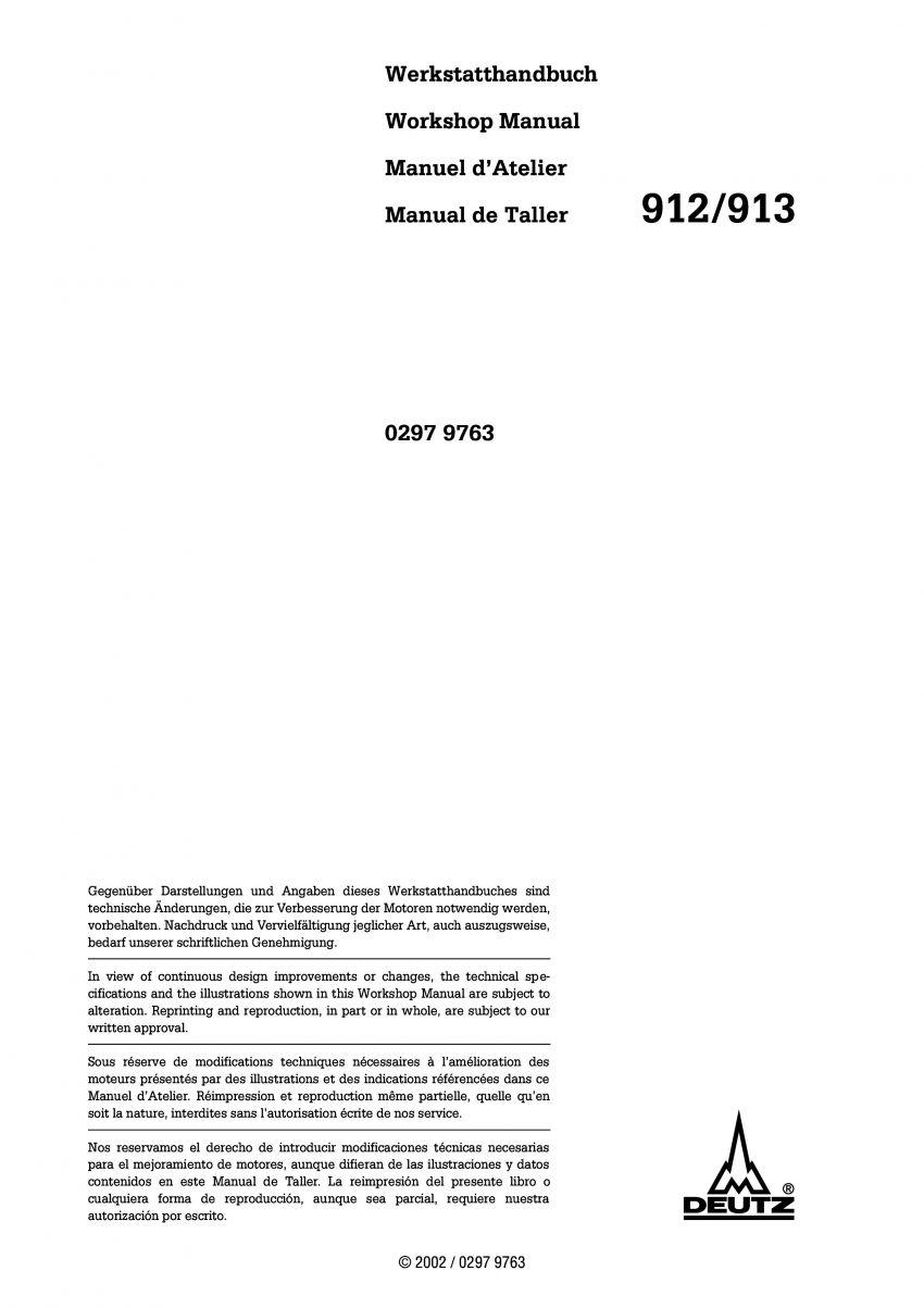 Deutz 912 913 motor werkplaatshandboek