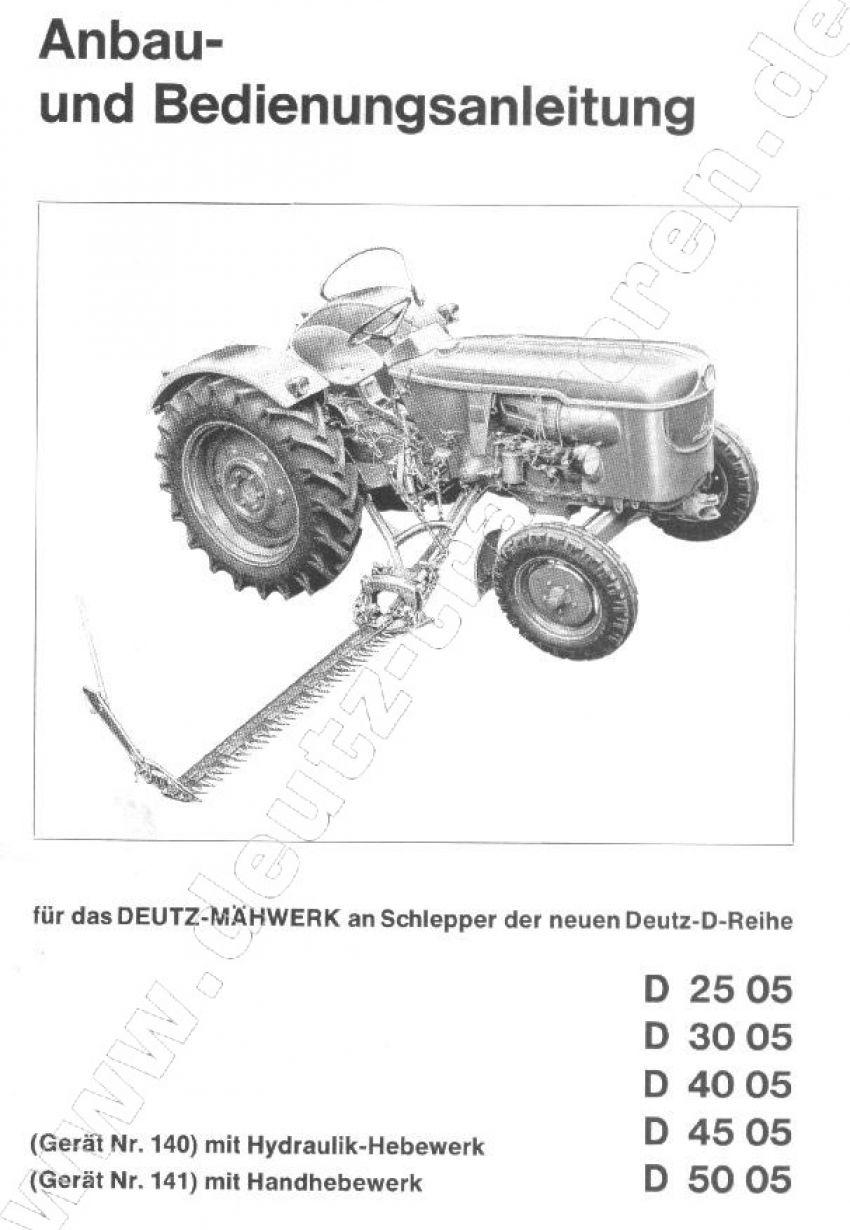 Deutz D2505-D5005 - Werkplaatshandboek aanbouwdelen maaibalk