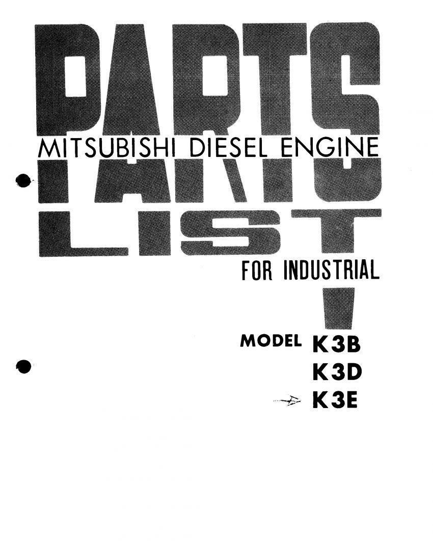 Mitsubishi K3B K3D K3E motor onderdelen lijst