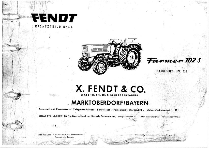 Fendt Farmer 102 s Onderdelen lijsten