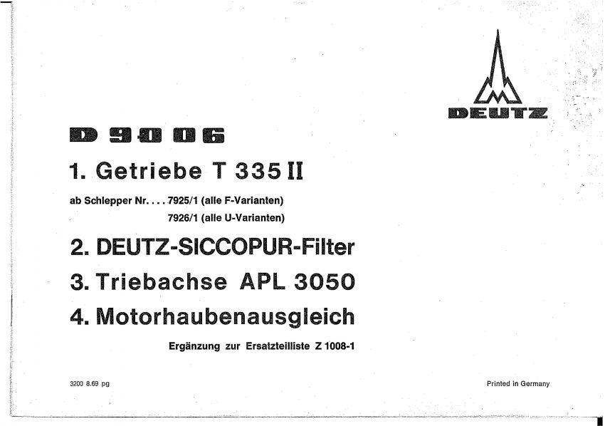 Deutz D9006 - Onderdelenlijst aanvulling