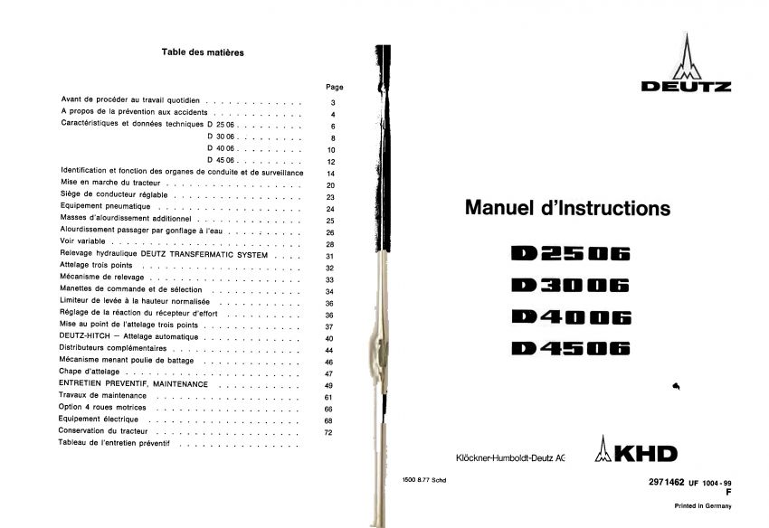 Deutz D2506 - D4506 Bedieningshandleiding