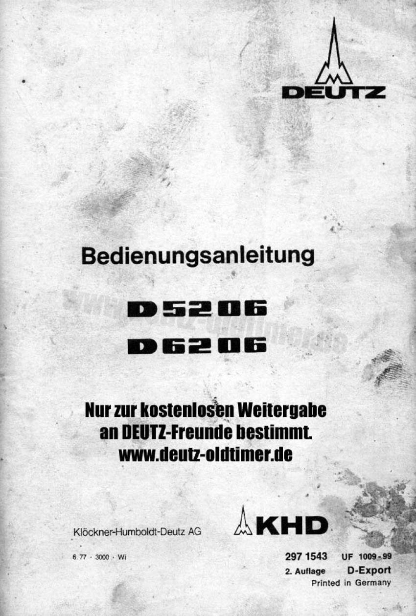 Deutz D5206-D6206 - Bedieningshandleiding