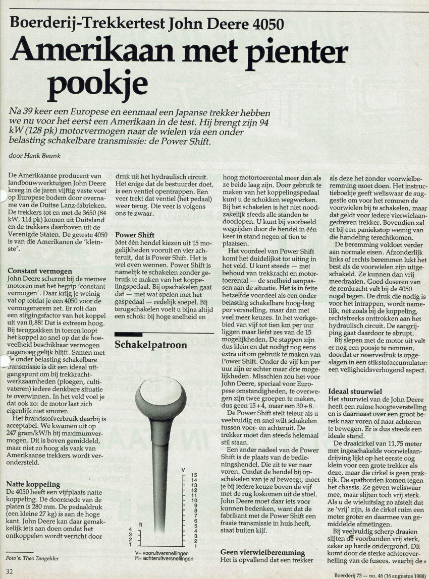 John Deere 4050 Boerderij Test door Henk Beunk