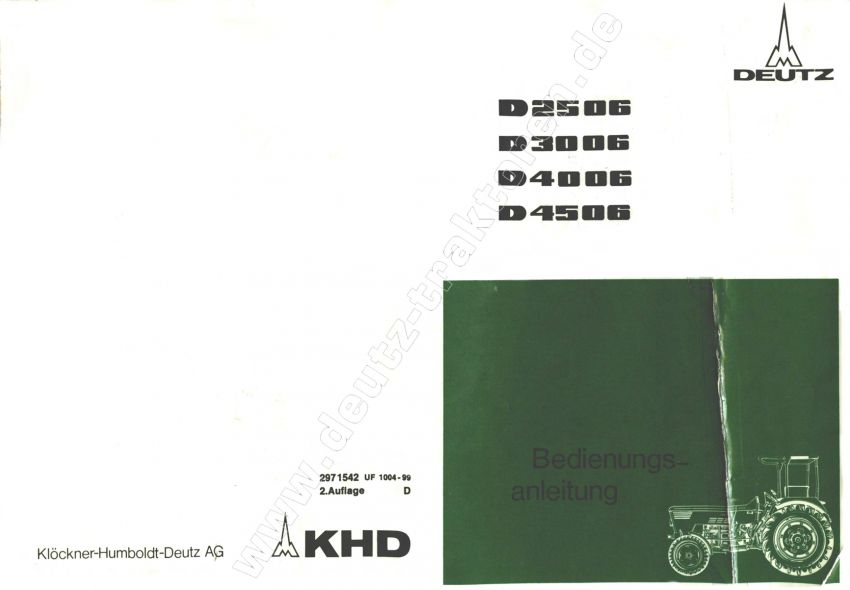 Deutz D2506-D4506 - Bedieningshandleiding